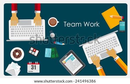 Team Work Flat Concept Vector Illustration  - stock vector
