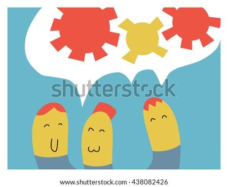 Team work. Flat vector illustration. - stock vector