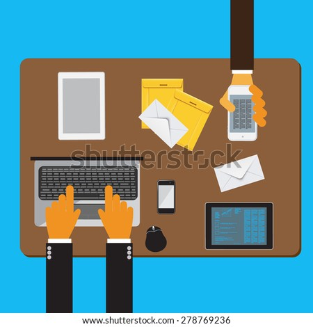 Team work in business. Vector Illustration. Flat concept - stock vector
