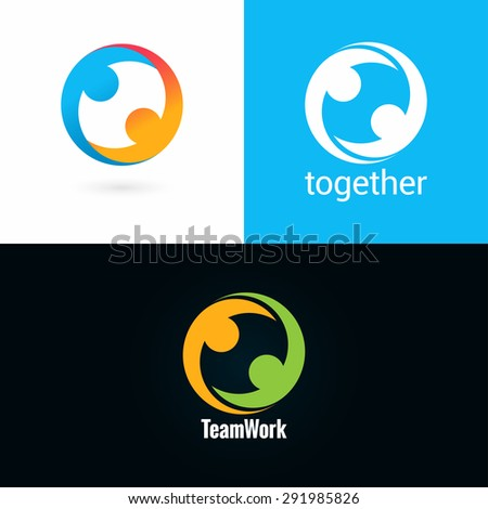 team work logo design icon set background - stock vector
