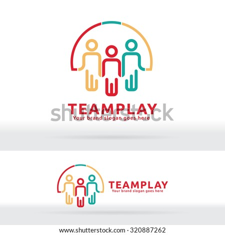 Team Work Play Logo. Community sign. Unity symbol. Team work company. Public organization. Good relationship colleagues. - stock vector