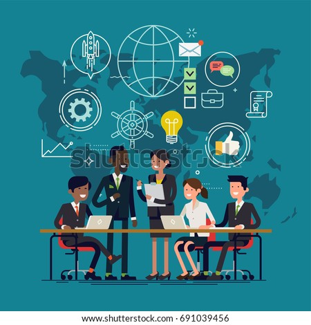 Team work process concept illustration. Vector flat design illustration on group of businessmen meeting on global planning and marketing research