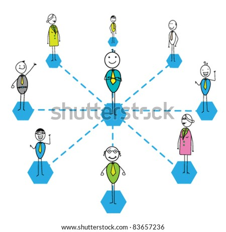 team work success link - stock vector