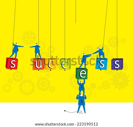 Team work : The way to success. - stock vector