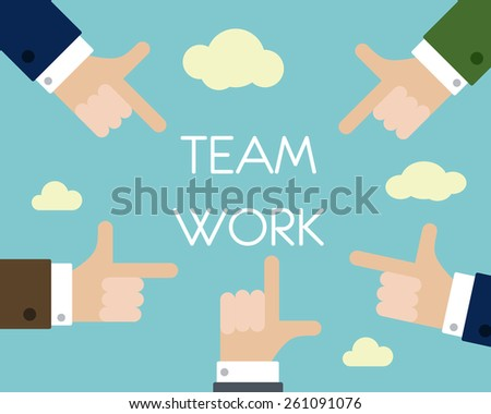 team work with hands. business concept. - stock vector