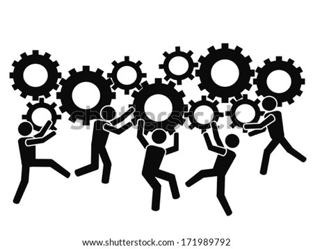 teams working with gears - stock vector