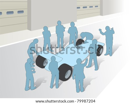 Teamwork and a group in a F1 pitstop - stock vector