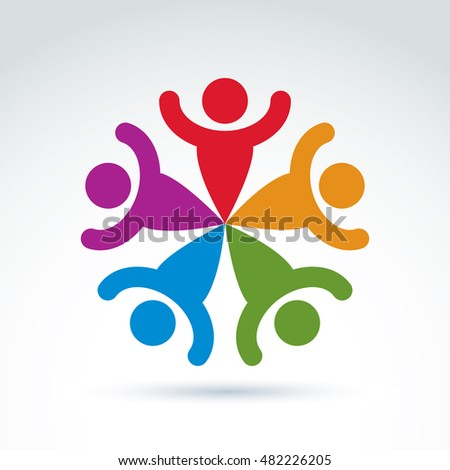 Teamwork Business Team Friendship Icon Social Stock Vector 482226205
