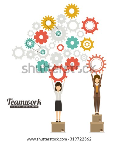 Teamwork and businesspeople concept design, vector illustration eps 10 - stock vector