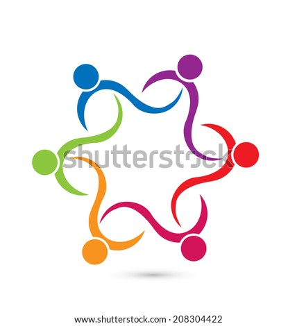 Teamwork and friendship concept. People icons in a flower shape working in social cooperation to success and support important ideas. - stock vector