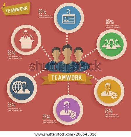 Teamwork and human resource info graphic design,clean vector - stock vector