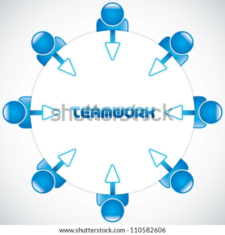 Teamwork around the table.Business vector - stock vector