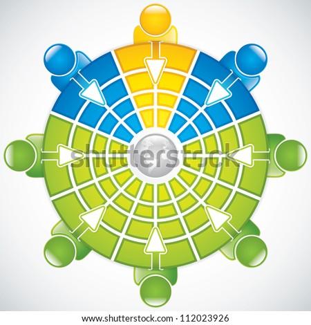 Teamwork around the table.Business vector - stock vector