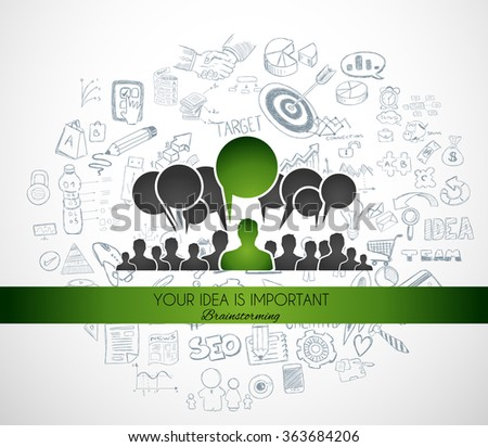 Teamwork Brainstorming communication concept art. People communicating around the globe with a lot of ideas and possible solutions - stock vector