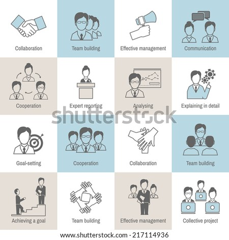 Teamwork business collaboration effective management flat line icons set isolated vector illustration - stock vector