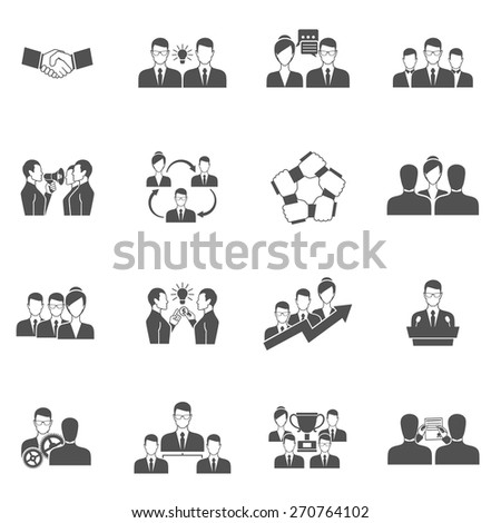 Teamwork business communication management and collaboration icons black set isolated vector illustration - stock vector