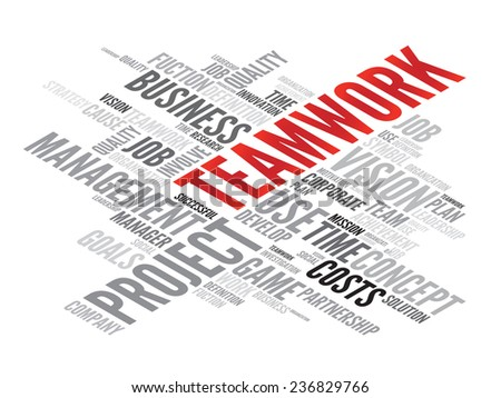 TEAMWORK business concept in word tag cloud, vector background - stock vector