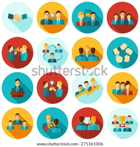 Teamwork business workgroups communication icons flat set isolated vector illustration - stock vector