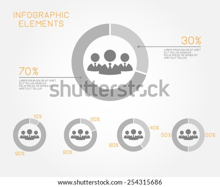 teamwork businessman infographic elements pie chart professional people pictogram vector template - stock vector