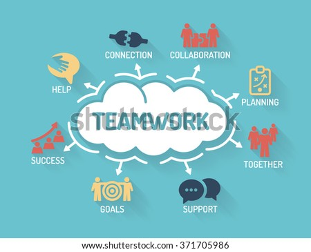 Teamwork - Chart with keywords and icons - Flat Design - stock vector