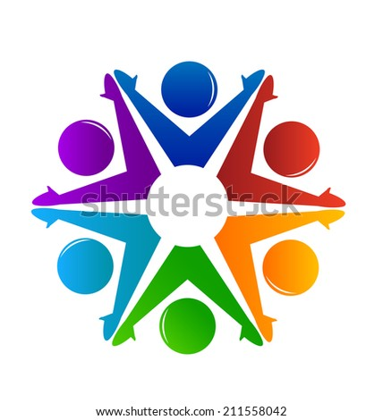Teamwork colorful people working together .Success, social ,community and cooperation symbol concept vector icon - stock vector