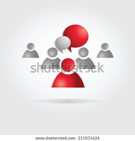 teamwork communication. vhat people. social media. leader. - stock vector