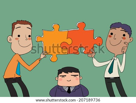 Teamwork compatibility and understanding - stock vector