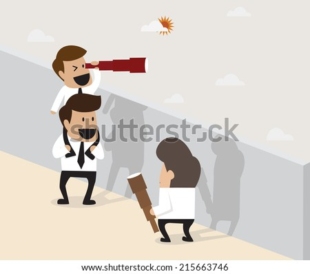 Teamwork concept : Businessmen do pyramid acrobatic for further vision - stock vector