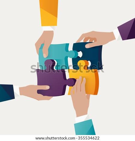 Teamwork concept. Colorful design. - stock vector