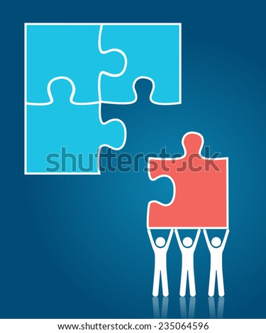 Teamwork concept - group of people fixing puzzle - stock vector