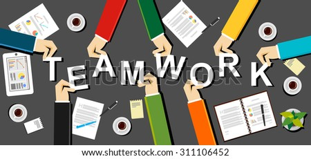Teamwork concept illustration. Flat design illustration concepts for teamwork, team, meeting, business, finance, management, career, analytics, analysis, brainstorming, planning.   - stock vector