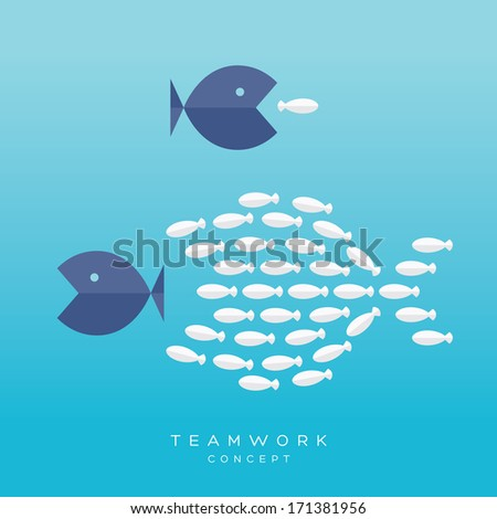 Teamwork Concept Illustration with Big Fish chasing Small fish and Fish group chasing Big fish - stock vector