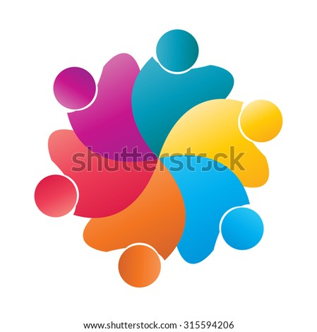 Teamwork concept of community,workers, people, student, unity,social networking icon image Vector logo template - stock vector