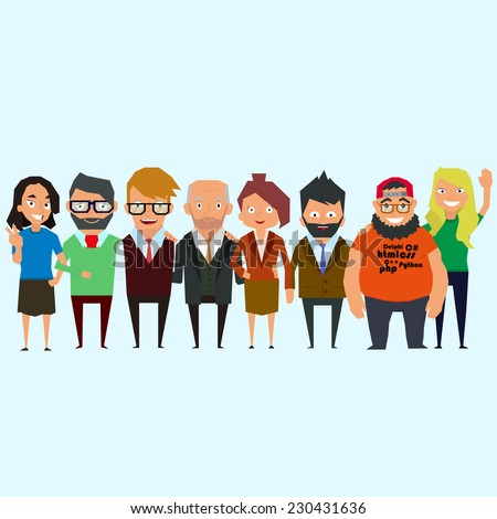 Teamwork. Concept of Group of People, happy team, victory. the best team. best friends. Vector. - stock vector
