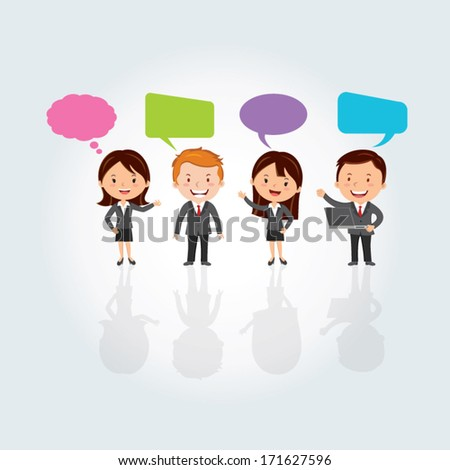 Teamwork concept. Social Media. Group of International business people with chat or thinking bubbles. - stock vector