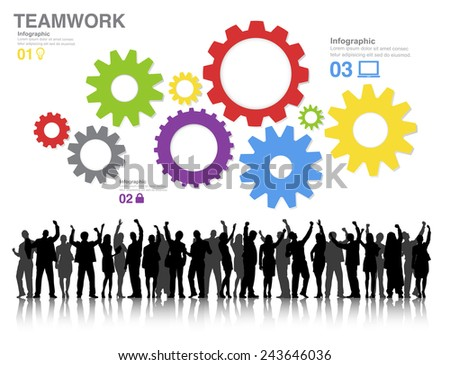 Teamwork Concept with Silhouettes of Business People and Gears Vector - stock vector