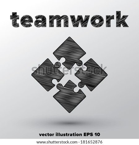 Teamwork concept with sketched puzzle pieces. - stock vector