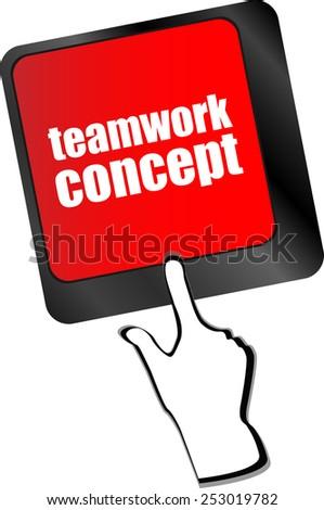 teamwork concept word on computer keyboard key - stock vector