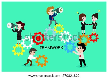Teamwork connect cog, business concept.