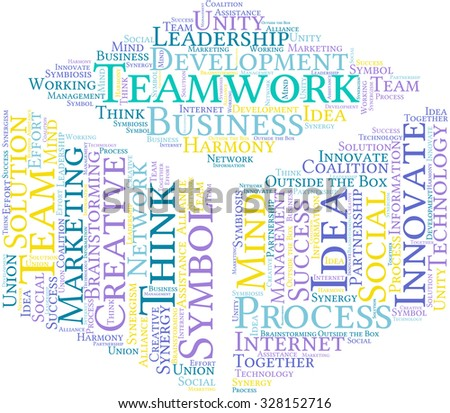 Teamwork cube shaped word cloud on a white background.