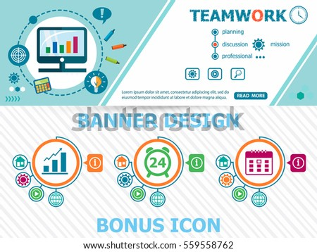 Teamwork design concepts and abstract cover header background for website design. Horizontal advertising business banner layout template