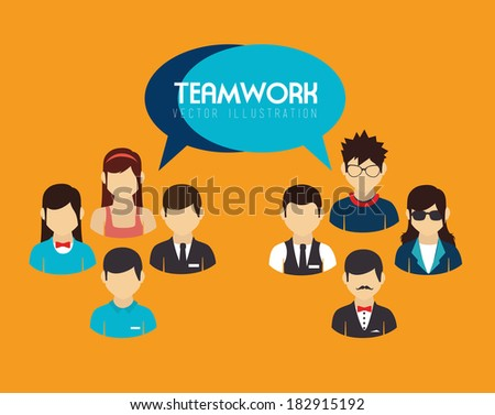 Teamwork design over orange background, vector illustration