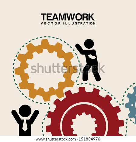 teamwork design over pink background  vector illustration - stock vector