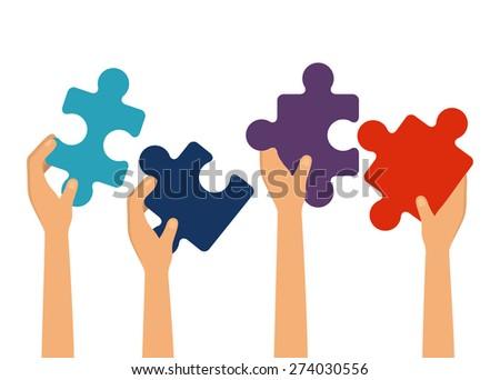 Teamwork design over white background, vector illustration - stock vector