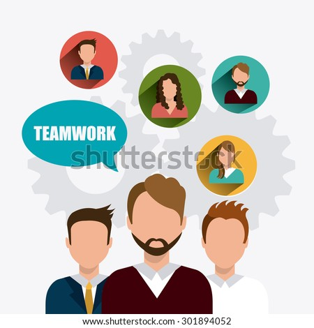 Teamwork digital design, vector illustration eps 10.