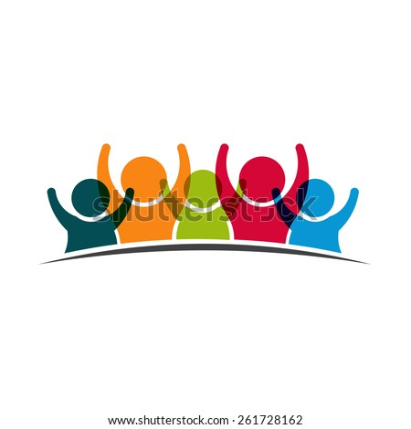 Teamwork Five Friends image. Concept of Group of People, happy team, victory - stock vector