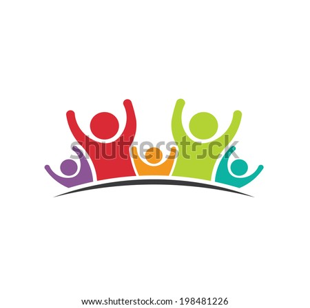 Teamwork Five Friends image. Concept of Group of People, happy team, victory.Vector icon  - stock vector