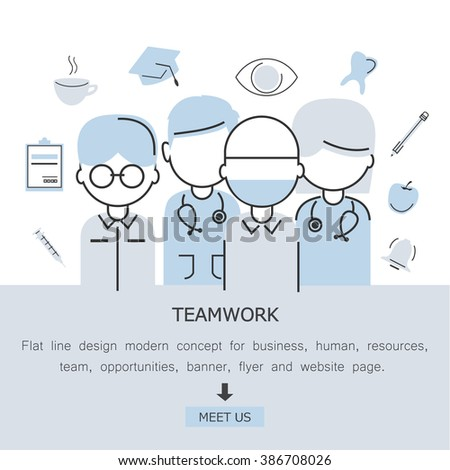 Teamwork-Flat Line Design Modern Concept For Medical And Health Care,Human Resources,Team,Work,Opportunities,Banner,Flyer And Website Page.Isolated On White Background.Team Workers And Entrepreneurs