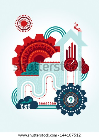 Teamwork for successful business concept Illustration - stock vector