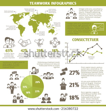 Teamwork global networking and collaboration infographic elements with business charts vector illustration - stock vector